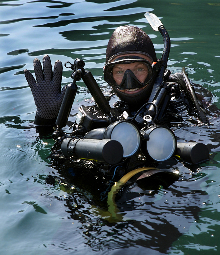 Underwater Filmmaker Annie Crawley with Scuba Diving and Underwater Video Equipment