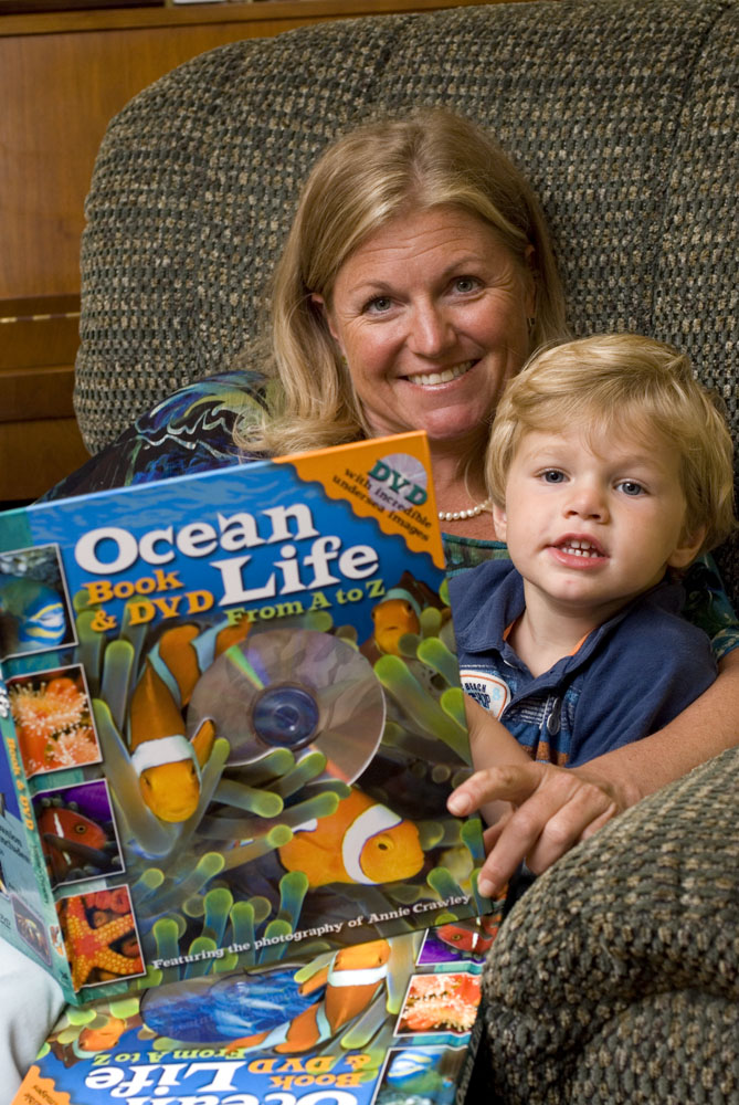 Annie Crawley reads Ocean Life A to Z during Storytime.