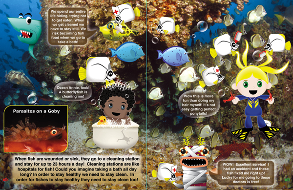 Inside Look at Hide and Seek on the Reef Book Pages 18 and 19 from The Adventures of Ocean Annie by Annie Crawley