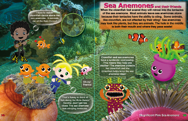 Inside Look at Hide and Seek on the Reef Book.  Anemones Page 6 and 7 from the Adventures of Ocean Annie by Annie Crawley