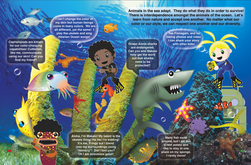 Inside Look at Diversity Page 4 and 5 from Diversity in the Sea Book Adventures of Ocean Annie by Annie Crawley